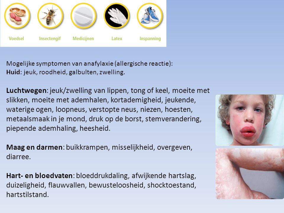 Mogelijke symptomen van anafylaxie (allergische reactie): Huid: jeuk, roodheid, galbulten, zwelling. Luchtwegen: jeuk/zwelling van lippen, tong of kee