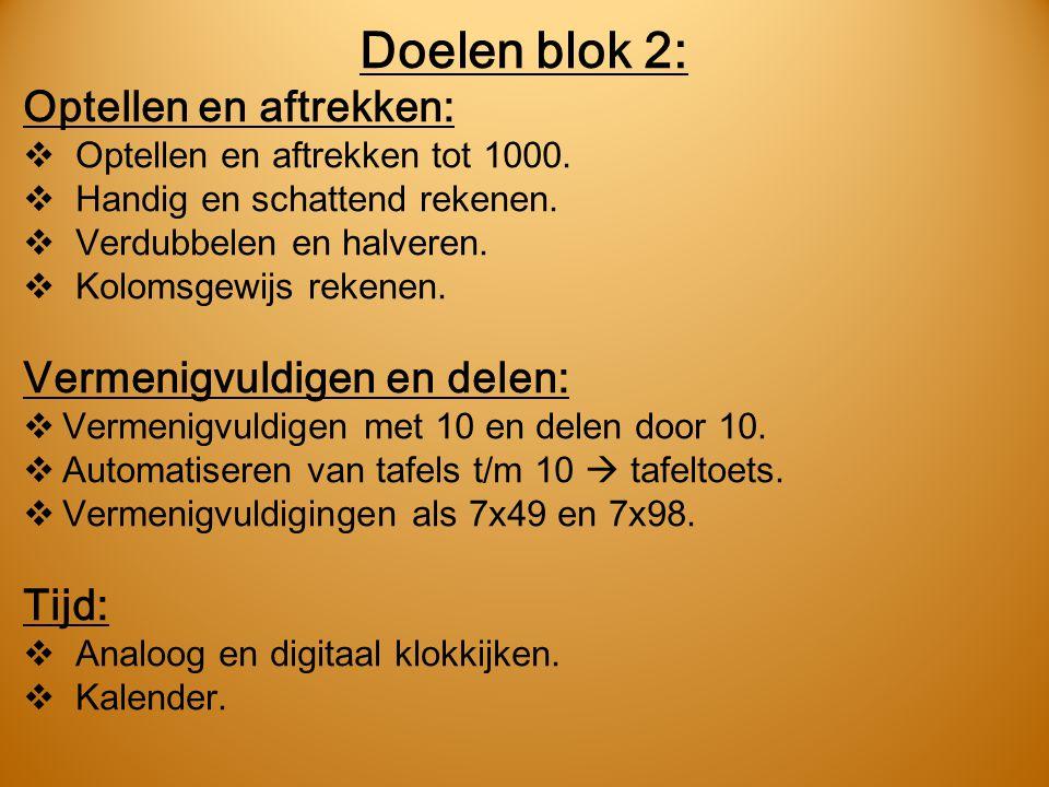 Doelen blok 2: Optellen en aftrekken:  Optellen en aftrekken tot 1000.  Handig en schattend rekenen.  Verdubbelen en halveren.  Kolomsgewijs reken