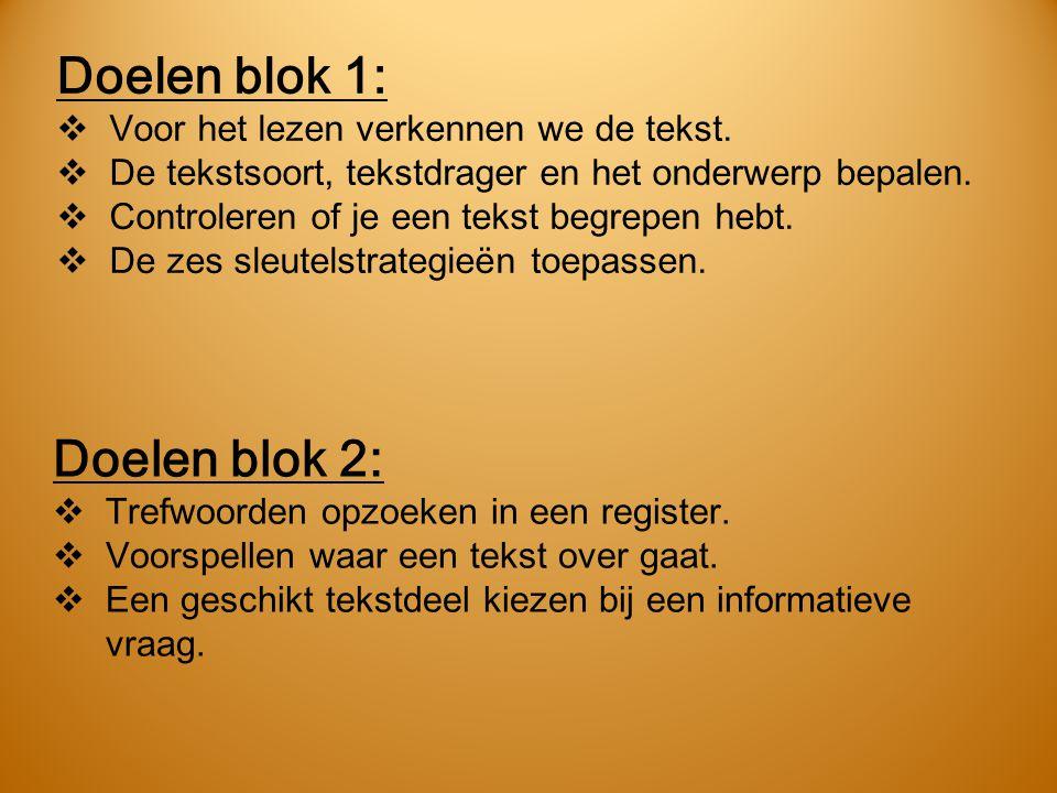 Doelen blok 1:  Voor het lezen verkennen we de tekst.  De tekstsoort, tekstdrager en het onderwerp bepalen.  Controleren of je een tekst begrepen h