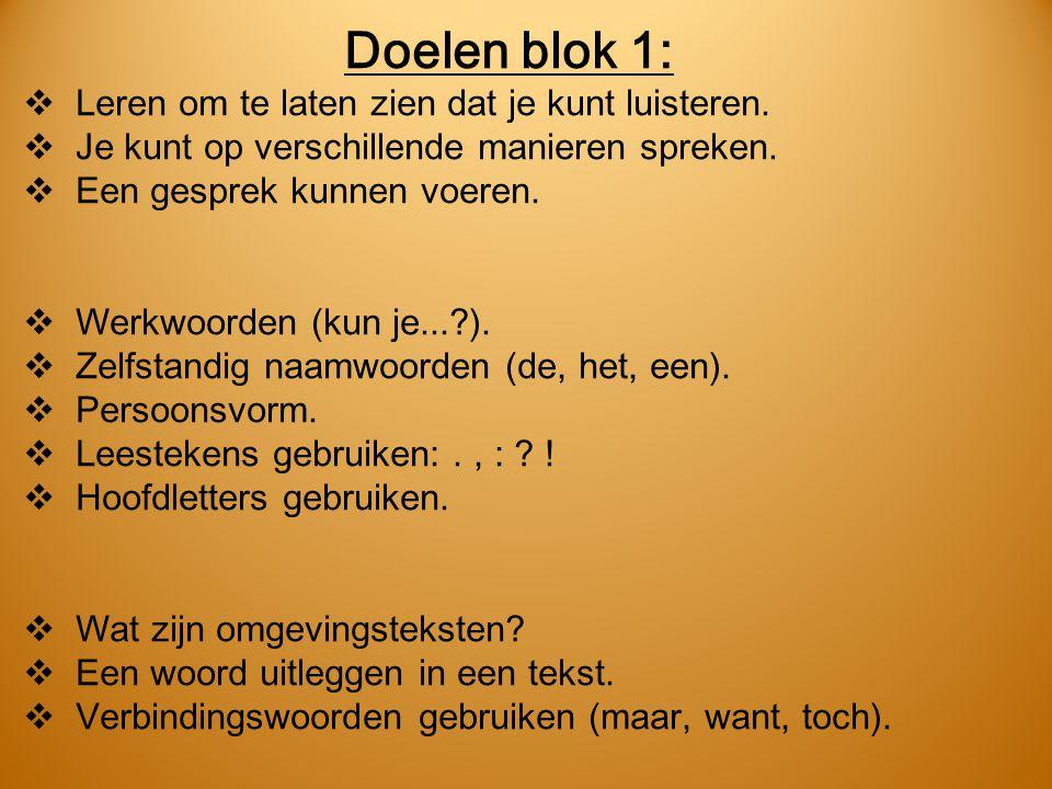 Doelen blok 1:  Leren om te laten zien dat je kunt luisteren.  Je kunt op verschillende manieren spreken.  Een gesprek kunnen voeren.  Werkwoorden
