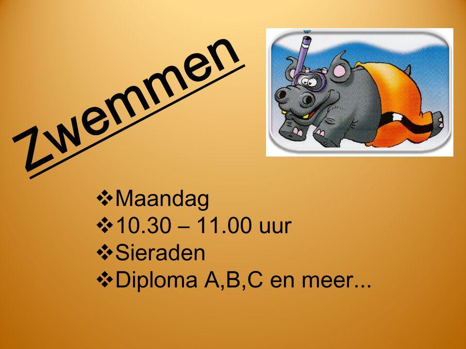 Zwemmen  Maandag  10.30 – 11.00 uur  Sieraden  Diploma A,B,C en meer...