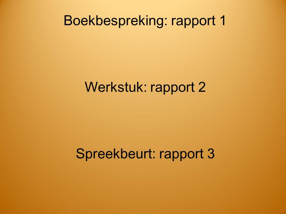 Boekbespreking: rapport 1 Werkstuk: rapport 2 Spreekbeurt: rapport 3
