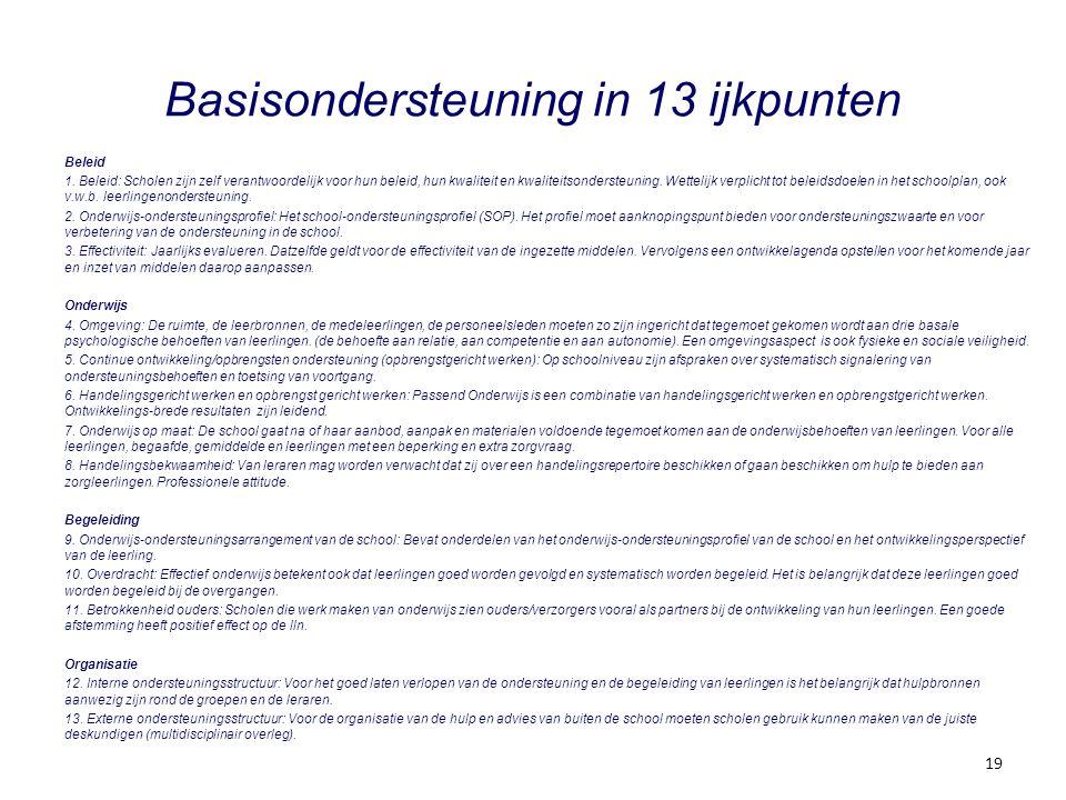 Basisondersteuning in 13 ijkpunten Beleid 1. Beleid: Scholen zijn zelf verantwoordelijk voor hun beleid, hun kwaliteit en kwaliteitsondersteuning. Wet