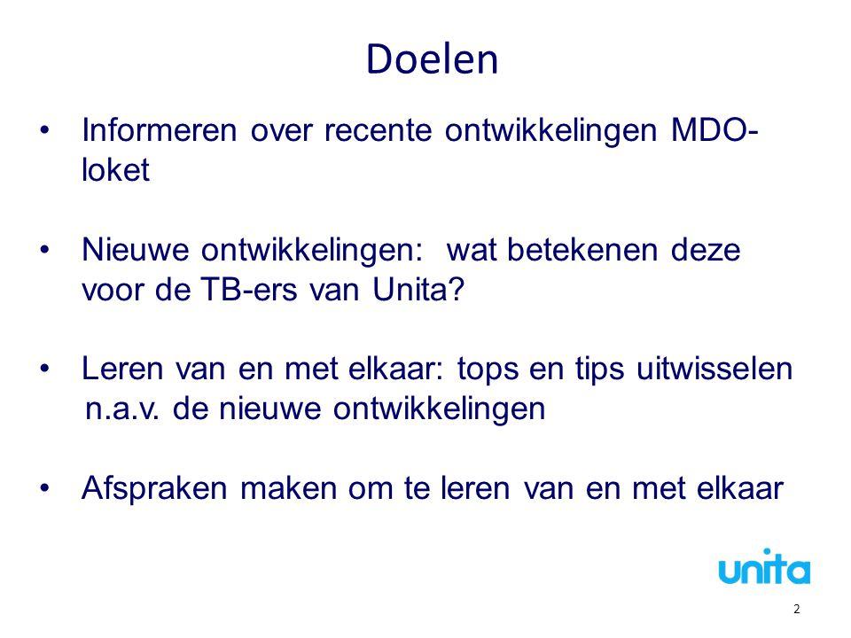 Doelen Informeren over recente ontwikkelingen MDO- loket Nieuwe ontwikkelingen: wat betekenen deze voor de TB-ers van Unita? Leren van en met elkaar: