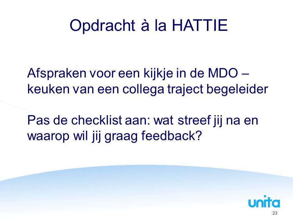 Opdracht à la HATTIE Afspraken voor een kijkje in de MDO – keuken van een collega traject begeleider Pas de checklist aan: wat streef jij na en waarop