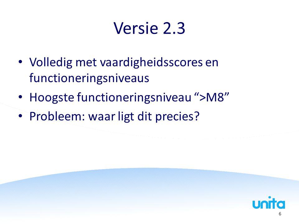 """Versie 2.3 Volledig met vaardigheidsscores en functioneringsniveaus Hoogste functioneringsniveau """">M8"""" Probleem: waar ligt dit precies? 6"""