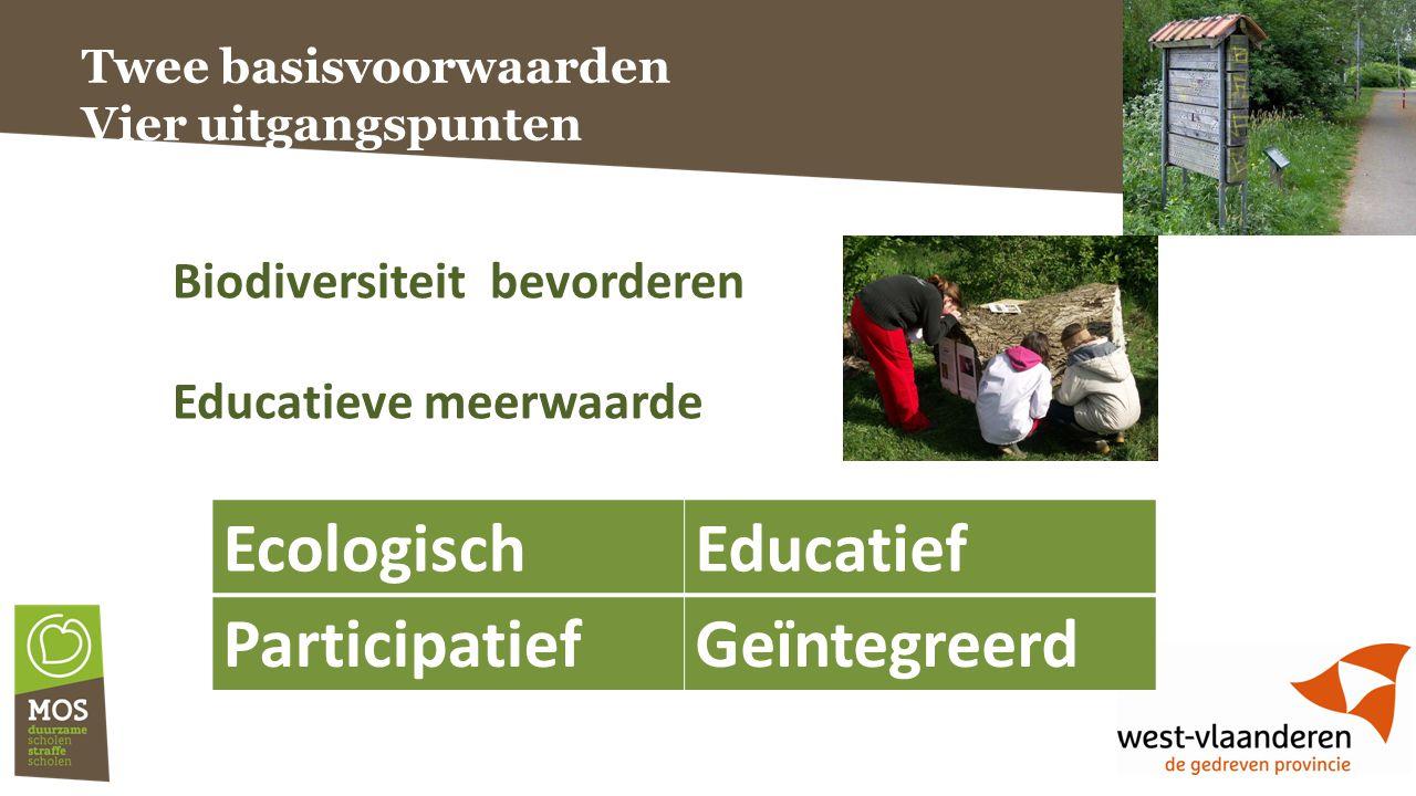 Twee basisvoorwaarden Vier uitgangspunten Biodiversiteit bevorderen Educatieve meerwaarde EcologischEducatief ParticipatiefGeïntegreerd