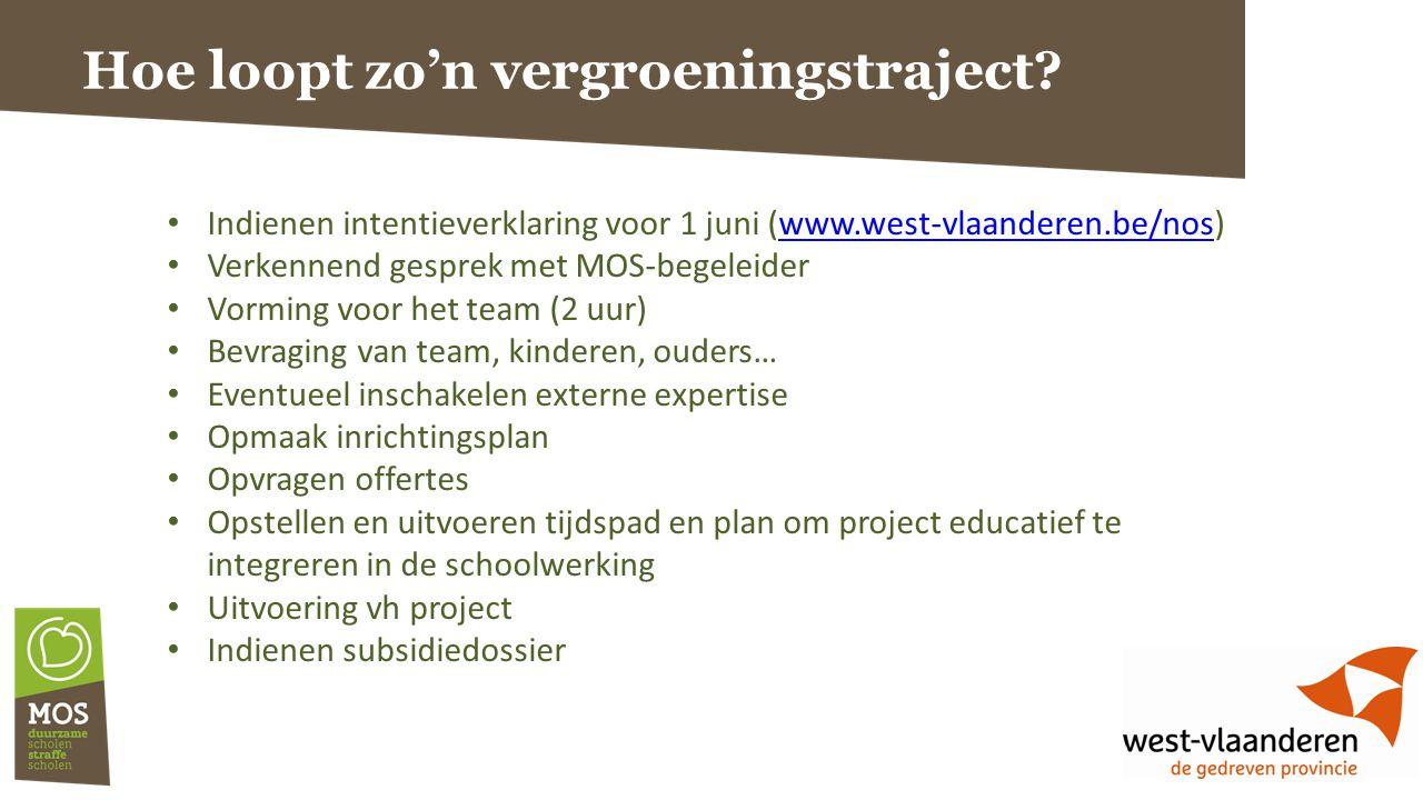 Hoe loopt zo'n vergroeningstraject? Indienen intentieverklaring voor 1 juni (www.west-vlaanderen.be/nos)www.west-vlaanderen.be/nos Verkennend gesprek
