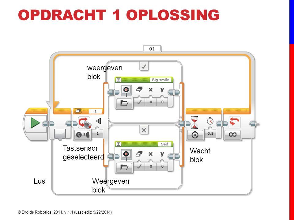 OPDRACHT 1 OPLOSSING weergeven blok Weergeven blok Wacht blok Lus Tastsensor geselecteerd © Droids Robotics, 2014, v.1.1 (Last edit: 9/22/2014)