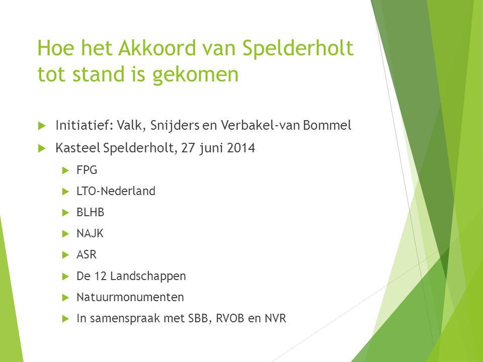 Hoe het Akkoord van Spelderholt tot stand is gekomen  Initiatief: Valk, Snijders en Verbakel-van Bommel  Kasteel Spelderholt, 27 juni 2014  FPG  L