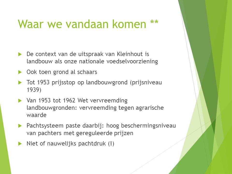Waar we vandaan komen **  De context van de uitspraak van Kleinhout is landbouw als onze nationale voedselvoorziening  Ook toen grond al schaars  T