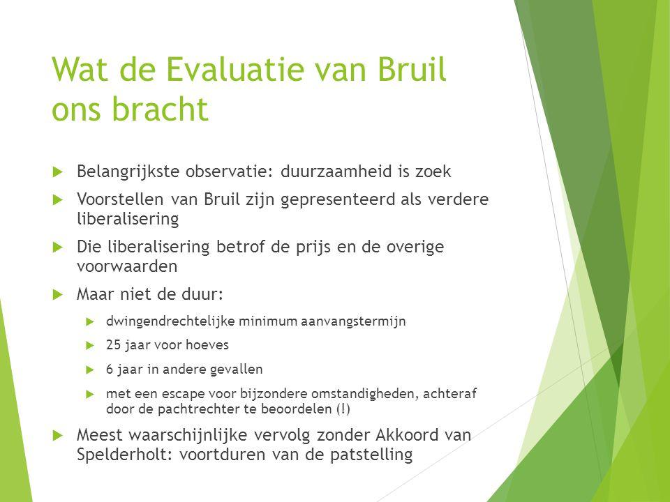 Wat de Evaluatie van Bruil ons bracht  Belangrijkste observatie: duurzaamheid is zoek  Voorstellen van Bruil zijn gepresenteerd als verdere liberali
