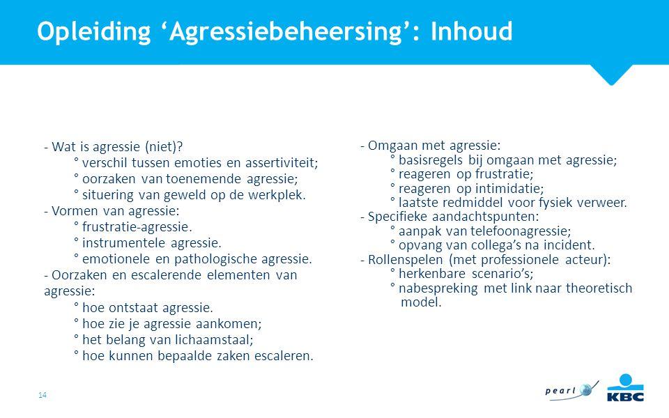 14 - Wat is agressie (niet)? ° verschil tussen emoties en assertiviteit; ° oorzaken van toenemende agressie; ° situering van geweld op de werkplek. -