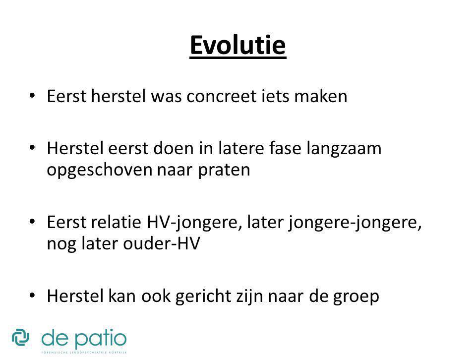 Evolutie Eerst herstel was concreet iets maken Herstel eerst doen in latere fase langzaam opgeschoven naar praten Eerst relatie HV-jongere, later jong