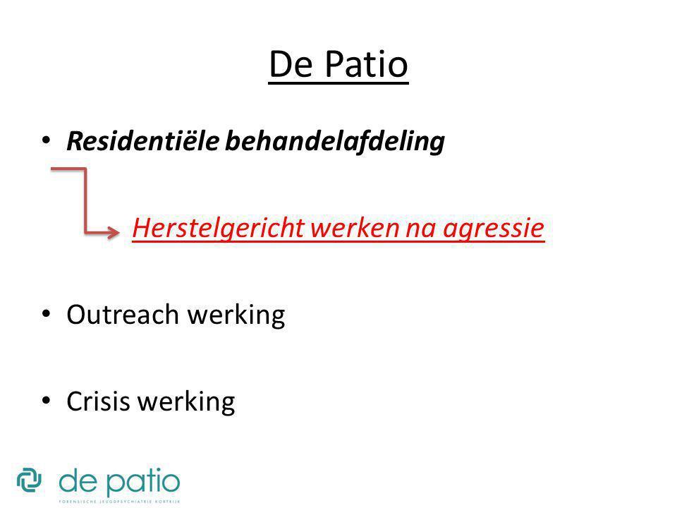 De Patio Residentiële behandelafdeling Herstelgericht werken na agressie Outreach werking Crisis werking