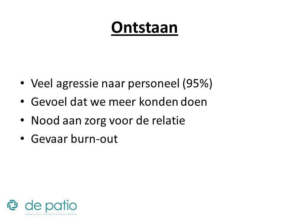 Ontstaan Veel agressie naar personeel (95%) Gevoel dat we meer konden doen Nood aan zorg voor de relatie Gevaar burn-out
