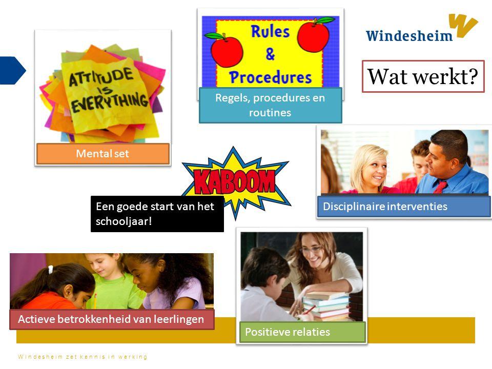 Windesheim zet kennis in werking Mental set Disciplinaire interventies Positieve relaties Regels, procedures en routines Actieve betrokkenheid van lee