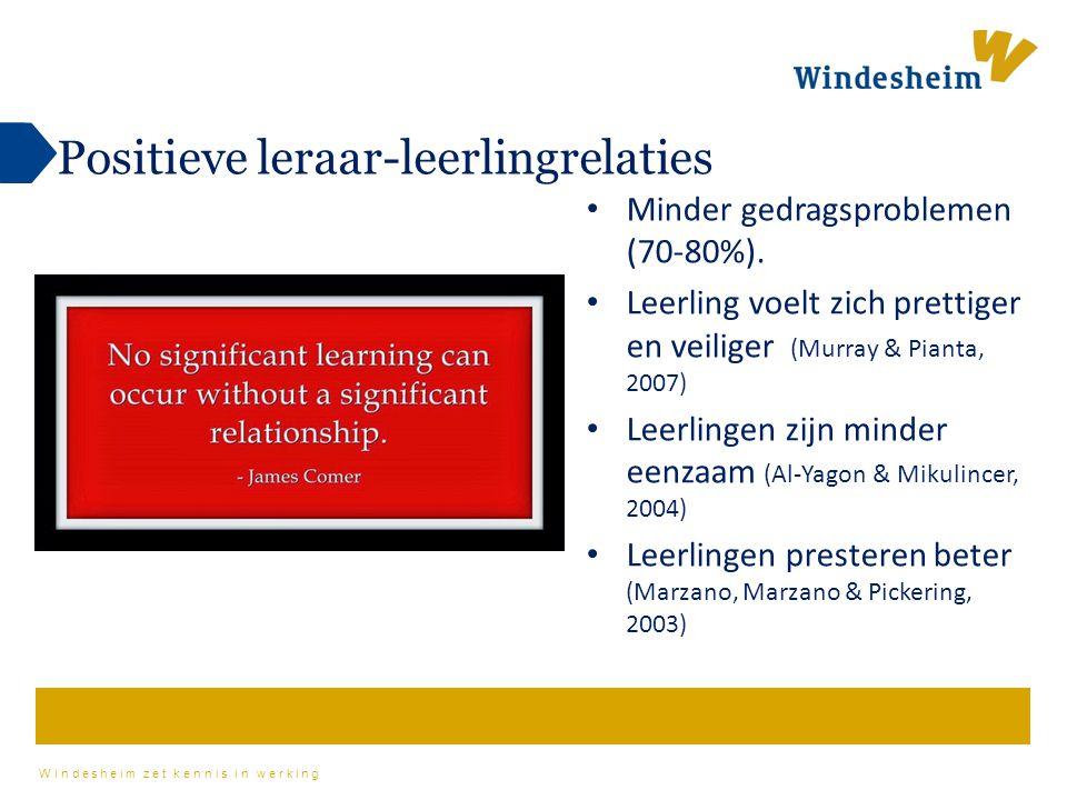 Windesheim zet kennis in werking Positieve leraar-leerlingrelaties Minder gedragsproblemen (70-80%). Leerling voelt zich prettiger en veiliger (Murray