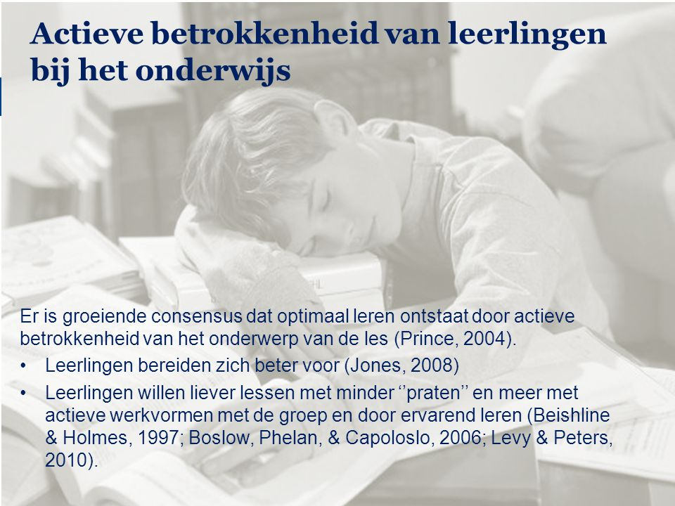 Windesheim zet kennis in werking Student involvement in education Er is groeiende consensus dat optimaal leren ontstaat door actieve betrokkenheid van het onderwerp van de les (Prince, 2004).
