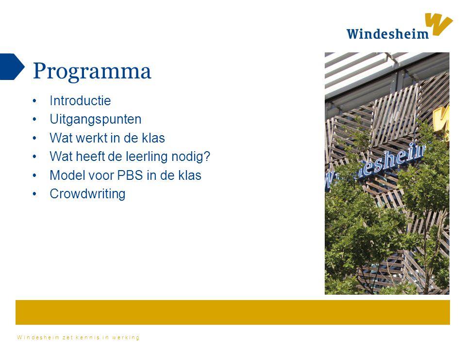 Windesheim zet kennis in werking Programma Introductie Uitgangspunten Wat werkt in de klas Wat heeft de leerling nodig? Model voor PBS in de klas Crow