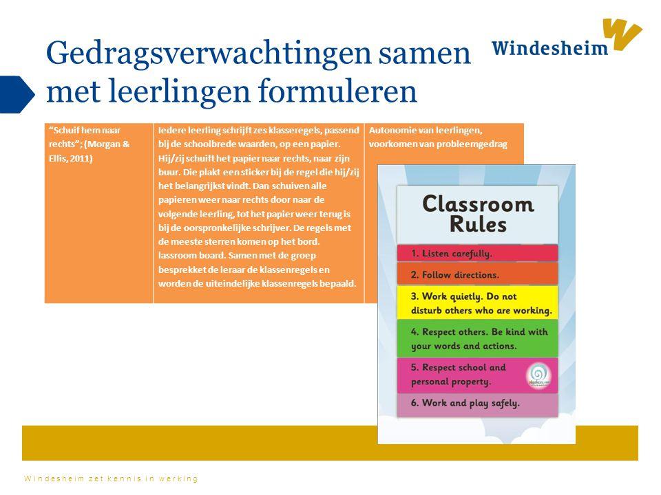 """Windesheim zet kennis in werking Gedragsverwachtingen samen met leerlingen formuleren """"Schuif hem naar rechts""""; (Morgan & Ellis, 2011) Iedere leerling"""