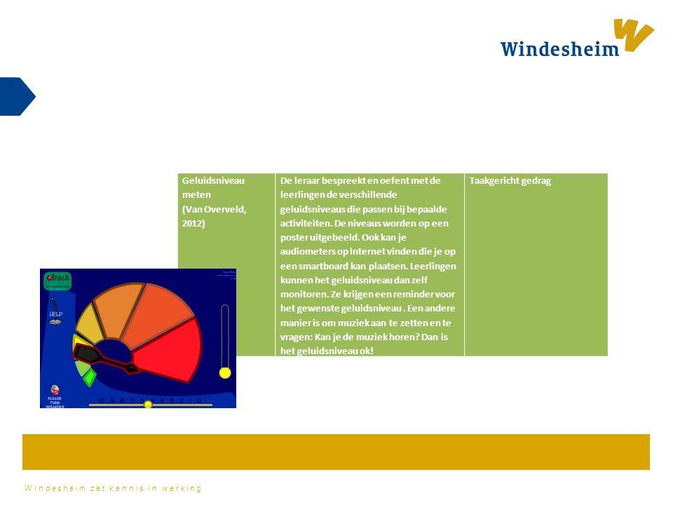 Windesheim zet kennis in werking Geluidsniveau meten (Van Overveld, 2012) De leraar bespreekt en oefent met de leerlingen de verschillende geluidsnive