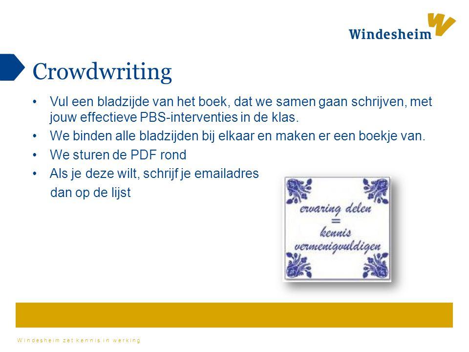 Windesheim zet kennis in werking Crowdwriting Vul een bladzijde van het boek, dat we samen gaan schrijven, met jouw effectieve PBS-interventies in de
