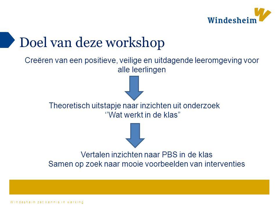Windesheim zet kennis in werking Doel van deze workshop Creëren van een positieve, veilige en uitdagende leeromgeving voor alle leerlingen Vertalen in
