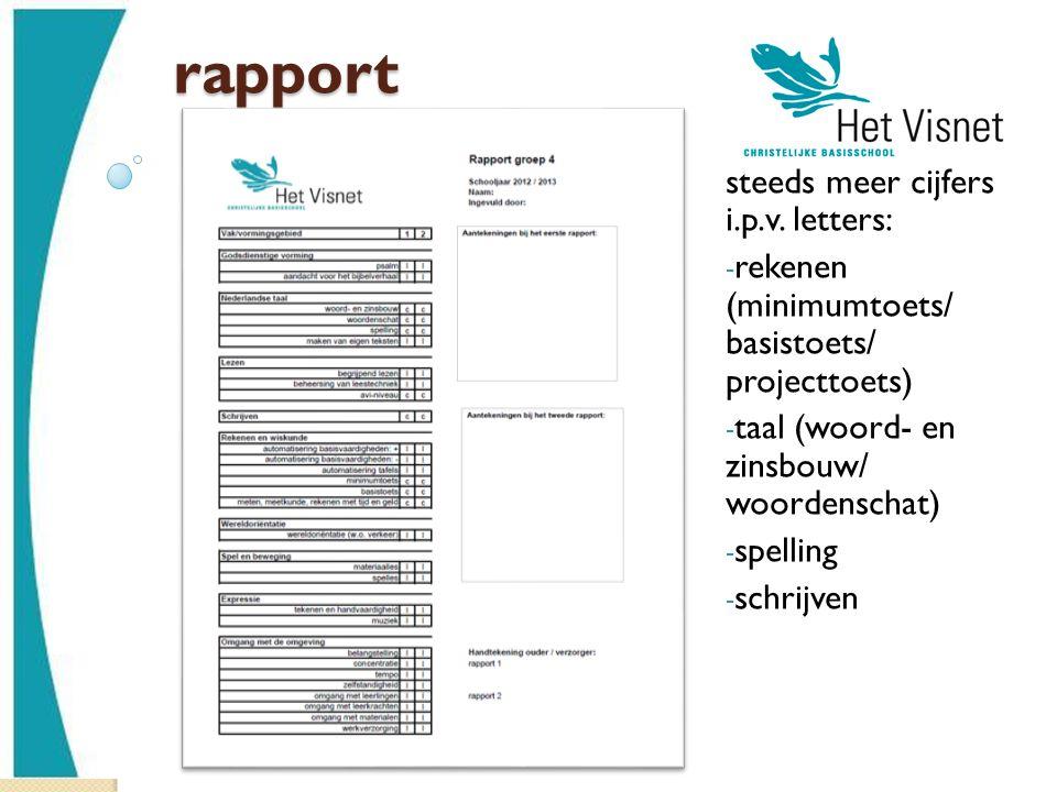 rapport steeds meer cijfers i.p.v. letters: - rekenen (minimumtoets/ basistoets/ projecttoets) - taal (woord- en zinsbouw/ woordenschat) - spelling -