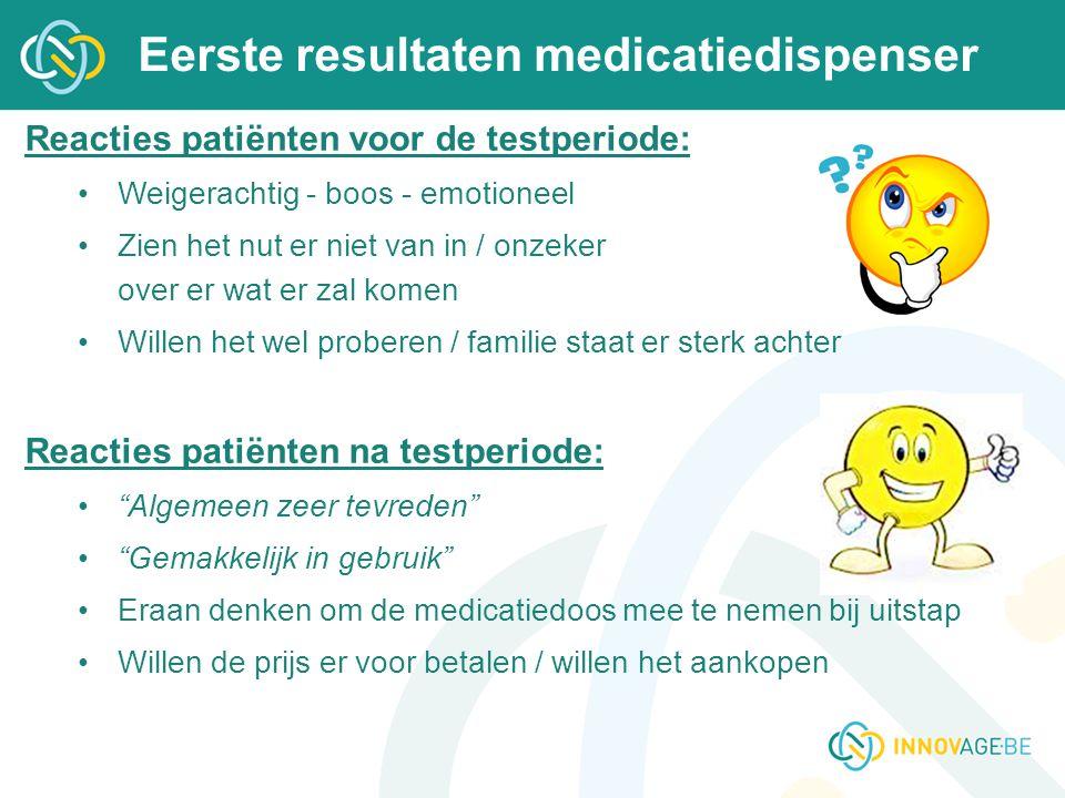 Eerste resultaten medicatiedispenser Reacties patiënten voor de testperiode: Weigerachtig - boos - emotioneel Zien het nut er niet van in / onzeker ov