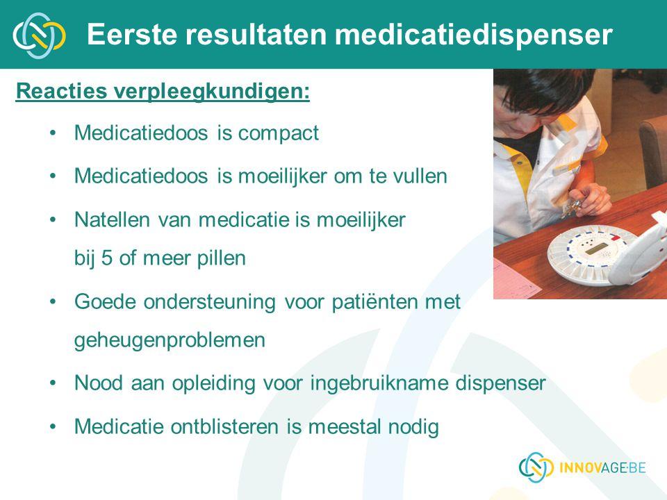 Eerste resultaten medicatiedispenser Reacties verpleegkundigen: Medicatiedoos is compact Medicatiedoos is moeilijker om te vullen Natellen van medicat