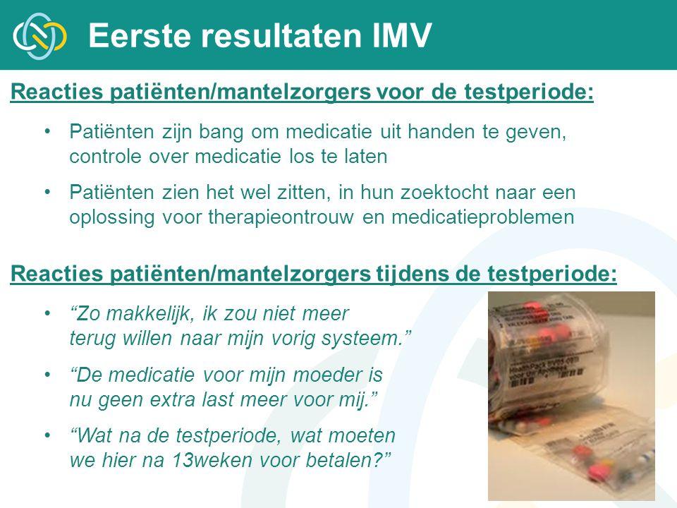 Eerste resultaten IMV Reacties patiënten/mantelzorgers voor de testperiode: Patiënten zijn bang om medicatie uit handen te geven, controle over medica