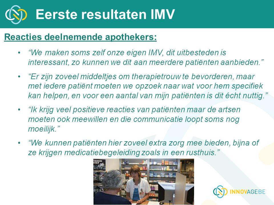 """Eerste resultaten IMV Reacties deelnemende apothekers: """"We maken soms zelf onze eigen IMV, dit uitbesteden is interessant, zo kunnen we dit aan meerde"""