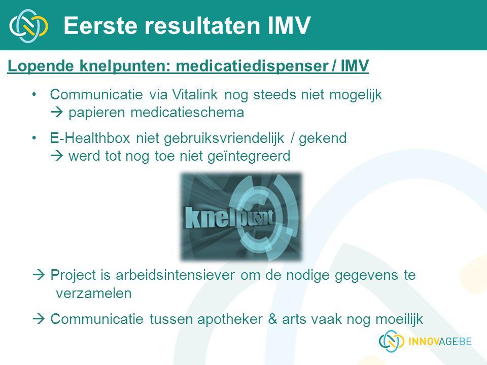 Eerste resultaten IMV Lopende knelpunten: medicatiedispenser / IMV Communicatie via Vitalink nog steeds niet mogelijk  papieren medicatieschema E-Hea