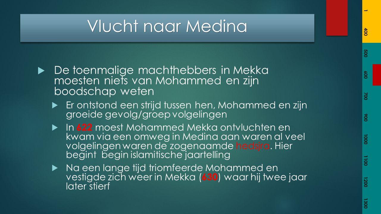  De toenmalige machthebbers in Mekka moesten niets van Mohammed en zijn boodschap weten  Er ontstond een strijd tussen hen, Mohammed en zijn groeide gevolg/groep volgelingen  In 622 moest Mohammed Mekka ontvluchten en kwam via een omweg in Medina aan waren al veel volgelingen waren de zogenaamde hedsjra.