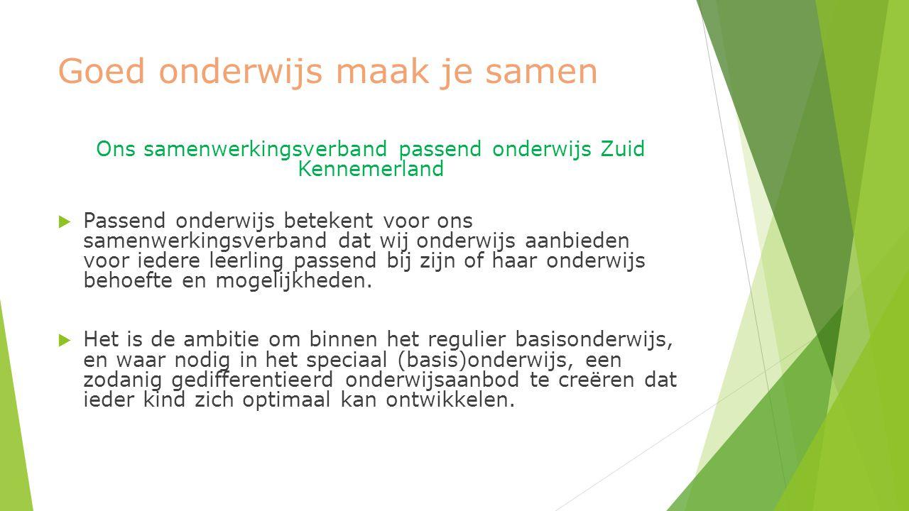 Goed onderwijs maak je samen Ons samenwerkingsverband passend onderwijs Zuid Kennemerland  Passend onderwijs betekent voor ons samenwerkingsverband dat wij onderwijs aanbieden voor iedere leerling passend bij zijn of haar onderwijs behoefte en mogelijkheden.