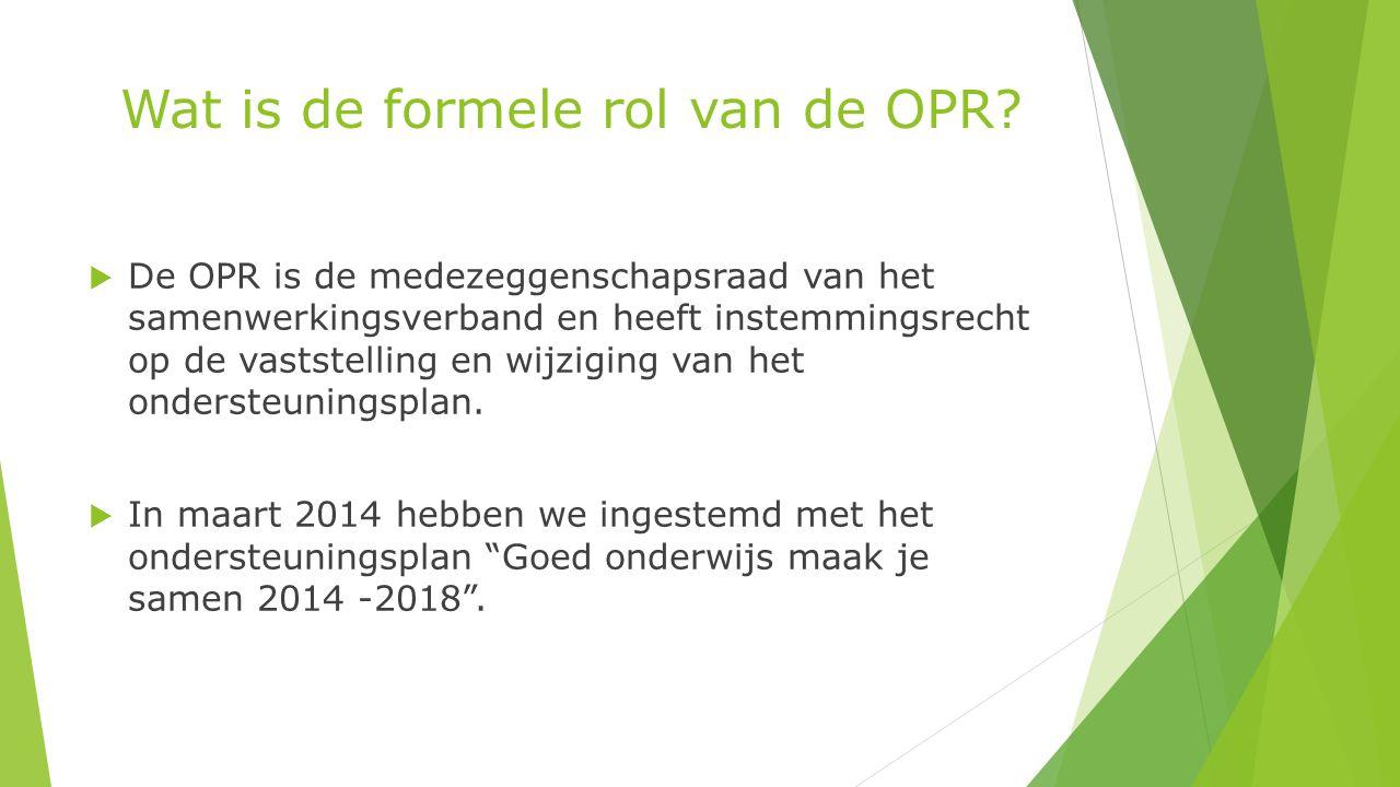 Wat is de formele rol van de OPR.