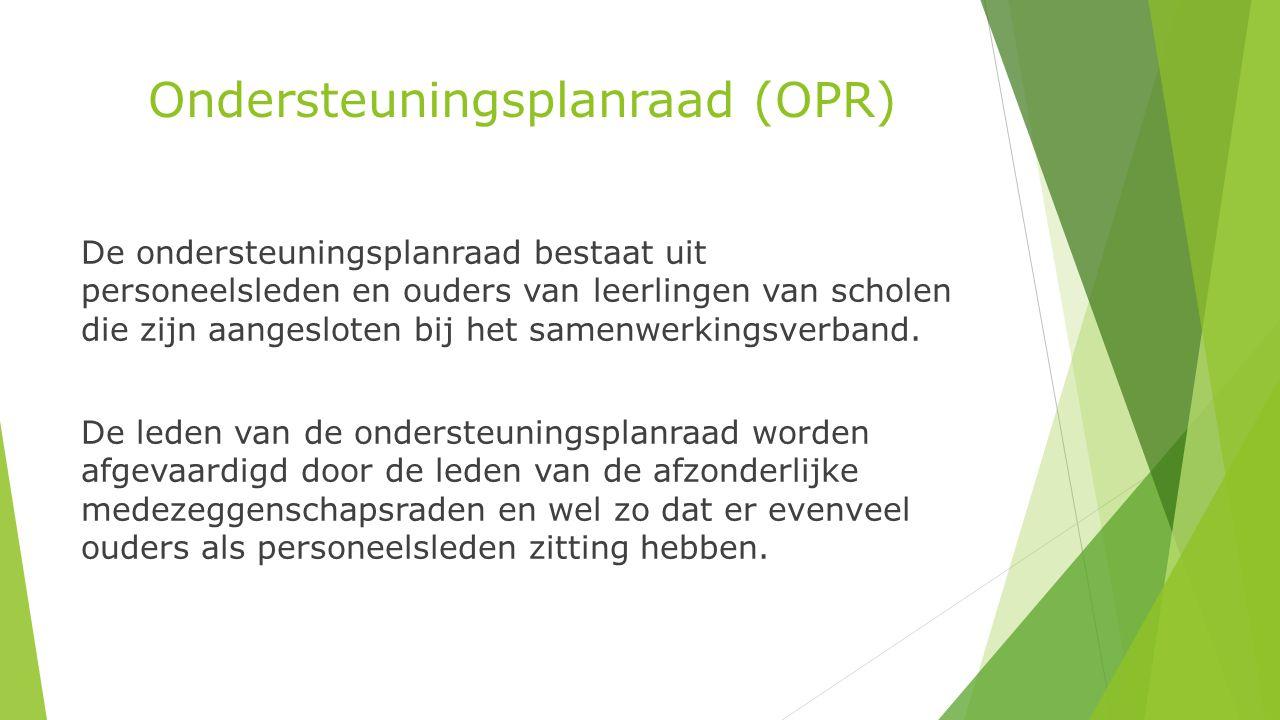 Ondersteuningsplanraad (OPR) De ondersteuningsplanraad bestaat uit personeelsleden en ouders van leerlingen van scholen die zijn aangesloten bij het samenwerkingsverband.