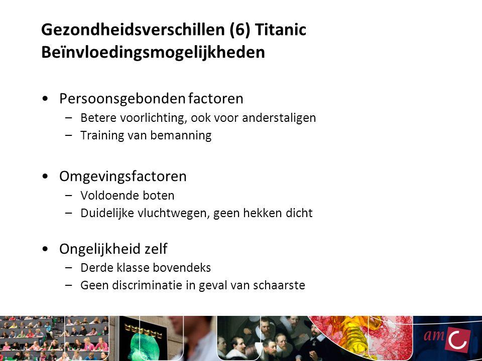 Gezondheidsverschillen (6) Titanic Beïnvloedingsmogelijkheden Persoonsgebonden factoren –Betere voorlichting, ook voor anderstaligen –Training van bem