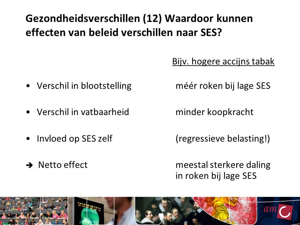 Gezondheidsverschillen (12) Waardoor kunnen effecten van beleid verschillen naar SES? Bijv. hogere accijns tabak Verschil in blootstellingméér roken b
