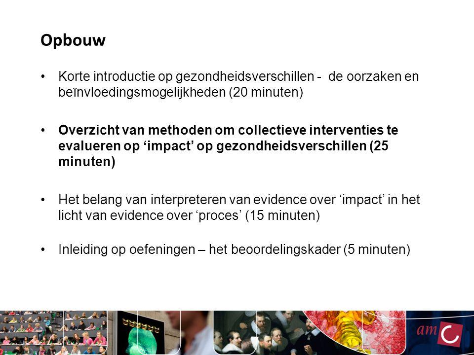 Opbouw Korte introductie op gezondheidsverschillen - de oorzaken en beïnvloedingsmogelijkheden (20 minuten) Overzicht van methoden om collectieve inte