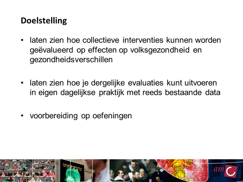 Van impact naar proces (2) Onverwachte impact ook als uitkomst van een proces Hogere accijns tabak Verschil in blootstellingméér roken bij lage SES Verschil in vatbaarheid??.