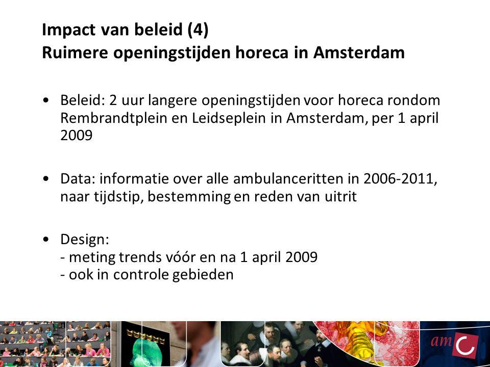 Impact van beleid (4) Ruimere openingstijden horeca in Amsterdam Beleid: 2 uur langere openingstijden voor horeca rondom Rembrandtplein en Leidseplein