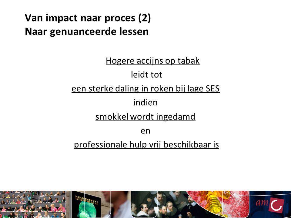 Van impact naar proces (2) Naar genuanceerde lessen Hogere accijns op tabak leidt tot een sterke daling in roken bij lage SES indien smokkel wordt ingedamd en professionale hulp vrij beschikbaar is