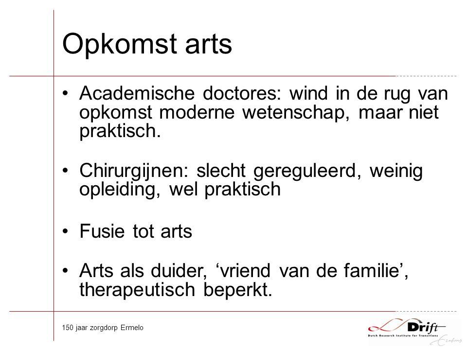 Opkomst arts Academische doctores: wind in de rug van opkomst moderne wetenschap, maar niet praktisch.