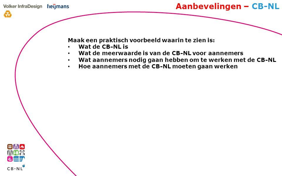 Aanbevelingen – CB-NL Maak een praktisch voorbeeld waarin te zien is: Wat de CB-NL is Wat de meerwaarde is van de CB-NL voor aannemers Wat aannemers nodig gaan hebben om te werken met de CB-NL Hoe aannemers met de CB-NL moeten gaan werken