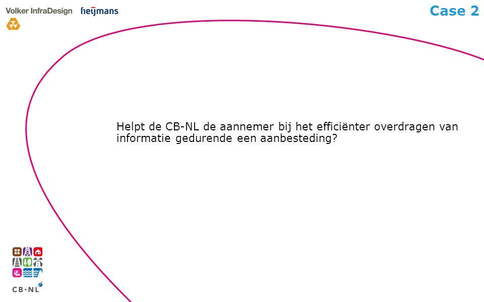 Helpt de CB-NL de aannemer bij het efficiënter overdragen van informatie gedurende een aanbesteding.