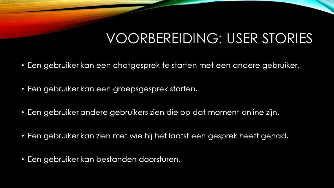 VOORBEREIDING: USER STORIES Een gebruiker kan een chatgesprek te starten met een andere gebruiker. Een gebruiker kan een groepsgesprek starten. Een ge