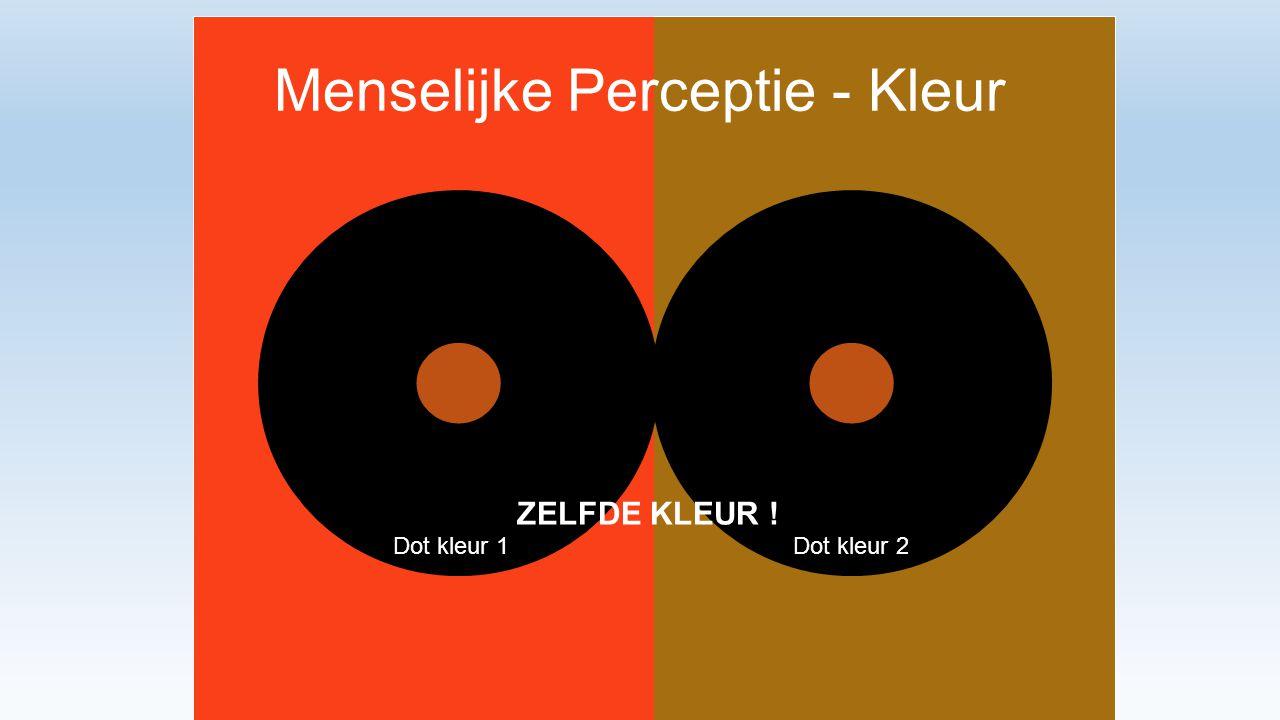 Menselijke Perceptie - Kleur Dot kleur 1Dot kleur 2 ZELFDE KLEUR !