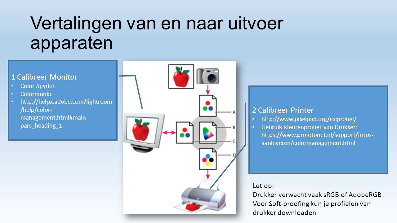 Vertalingen van en naar uitvoer apparaten 1 Calibreer Monitor Color Spyder Colormunki http://helpx.adobe.com/lightroom /help/color- management.html#ma
